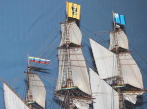 Модель-копия корабля Ингерманланд. Паруса