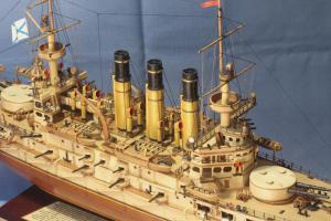 Модель корабля броненосец Ретвизан. Фрагмент.