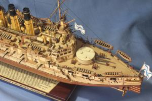 Модель корабля броненосец Ретвизан. Корма сверху.
