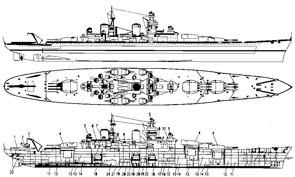 Чертёж модели корабля Советский Союз 1.