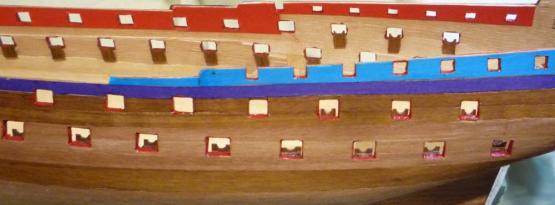 Борт модели с отделанными портами