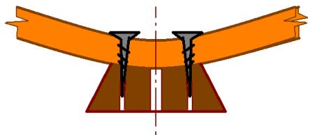 Крепление ножек модели парусника