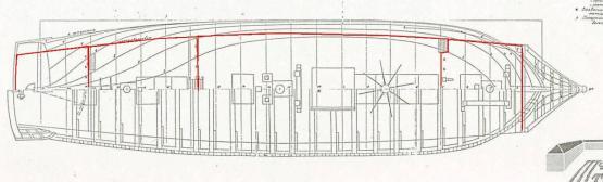 Контуры палуб модели фрегата