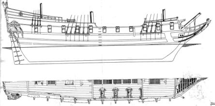 Чертёж модели корабля Пётр и Павел, корпус