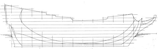 Проекция бок чертежа модели корабля