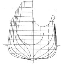 Проекция корпус фрегата Пётр и Павел