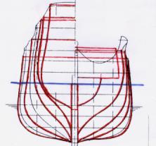 Шпангоуты модели корабля